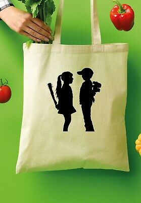 £4.99 • Buy BANKSY Girl And Boy Tote Shopper Bags 100% Cotton Canvas Grocery Bag 621