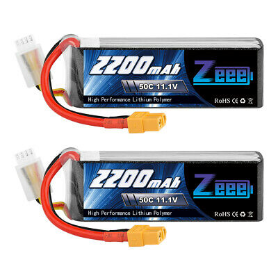 AU50.99 • Buy 2x Zeee 2200mAh 50C 11.1V 3S XT60 Lipo Battery For RC Helicopter FPV Drone Quad