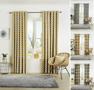 Designer Curtain Fully Lined Eyelet Ring Top Ready Made Light Reducing Curtains  • 27.99£
