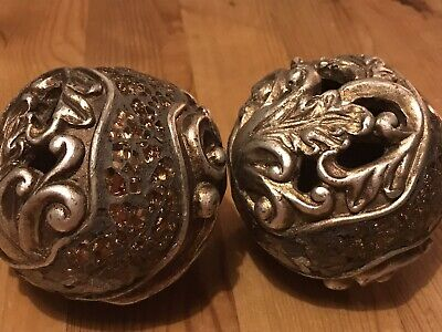 Pair Of Decorative Mosaic Hollow Bowl Balls Orbs Spheres Moroccan Filigree • 20£
