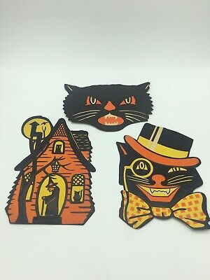 $ CDN35 • Buy 3 Vintage Halloween Die Cut Lohrs Cardbourd Decorations