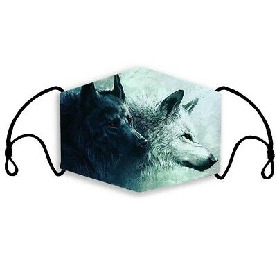 £2.99 • Buy Face Mask B&W Wolf Print Animal Adult Washable Reusable Cotton Mouth Covering UK