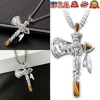 $5.79 • Buy Cross Pendant Necklace For Man Christian Presents Gifts USA FREE FAST SHIPPING