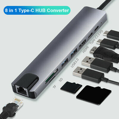 AU33.72 • Buy 8 In 1 Type-C HUB To HDMI USB3.0 RJ45 PD TF Memory Card Converter Adapter