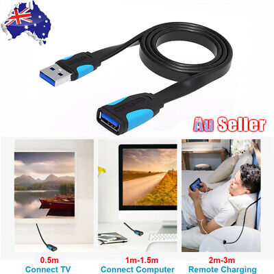 AU11.05 • Buy USB 3.0 Male To Female Extension Cable Super Speed Data Sync Extender Flat Cord