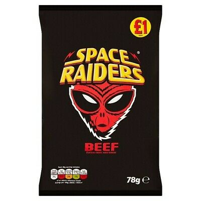 Space Raiders Beef Flavour Cosmic Corn Snacks 78g X 16 BOX - FREE FAST DELIVERY- • 20£