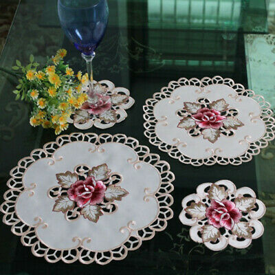 Set Of 4 White Vintage Embroidered Flower Lace Placemats Round Table Mat Doilies • 7.99£