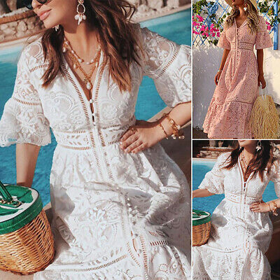 AU39.19 • Buy Women V Neck Lace Dress Summer Midi Dress Party Cocktail Holiday Beach Sundress