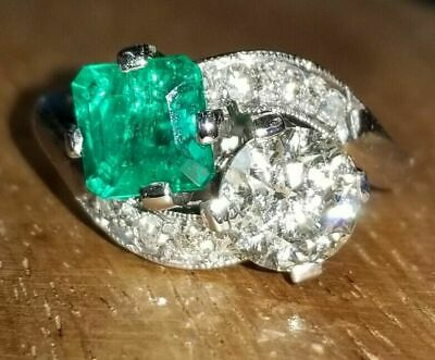 £109.82 • Buy Circa 1930s Engagement Vintage Art Deco Ring 14K White Gold Over 2.8 Ct Emerald