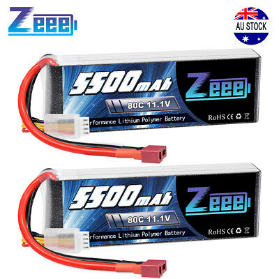 AU90.99 • Buy 2x Zeee 5500mAh 80C 3S 11.1V Deans LiPo Battery For RC Helicopter Airplane Car
