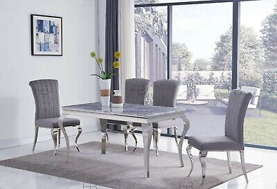 £399.99 • Buy Louis 160cm Black/Grey/Ivory-Cream/White/Marble Chrome Dining Table And Chairs