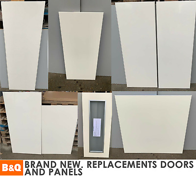 £9 • Buy B&Q Cream Gloss Slab Kitchen Replacement Doors Clad-on Panels End Of Line NEW