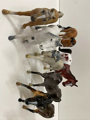 Lot Of 7 Mixed Horses Scheich Toy Major Arabian Andalusion Appaloosa Mare Foal • 48.68£