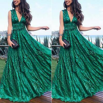 AU32.89 • Buy Womens Sleeveless V Neck Formal Evening Party Prom Gown Long Maxi Dress Sundress