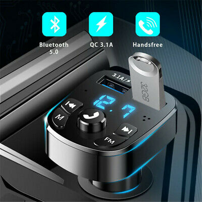 Bluetooth5.0 Wireless Car FM Transmitter MP3 Player Radio 2 USB Charger Adapter • 6.60£