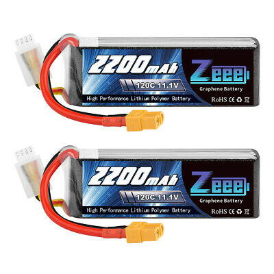 AU50.99 • Buy 2PCS 2200mAh 120C 11.1V 3S Graphene XT60 Plug LiPo Battery For RC Quad Drone FPV