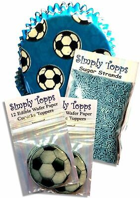 £5.50 • Buy Blue Football Party Cupcake Kit 24 Toppers Strands 24 Cases Cake Decoration