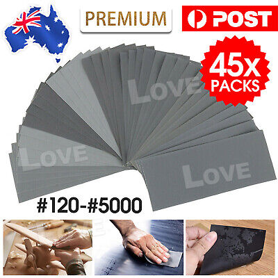 AU11.85 • Buy 45PCS Sandpaper Mixed Wet And Dry Waterproof 120-5000 Grit Sheets Assorted Wood