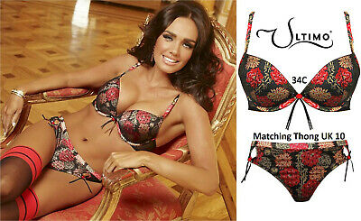Ultimo 'Orient' Triple Liquid Gel Padded Push-up Bra & Thong Set; 34C & 10  • 32£