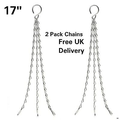 £3.99 • Buy 17  Garden Hanging Basket Spare Metal Chains Replacement Silver Hanger 2 Pack