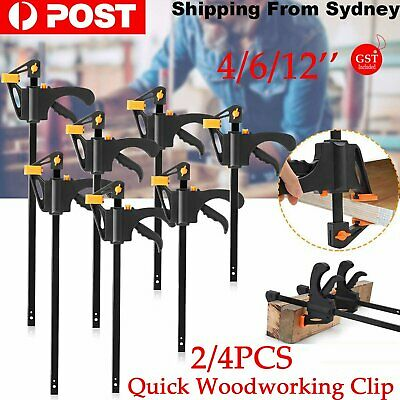AU15.99 • Buy 2/4 X Quick Woodworking Clip Bar Clamp F-tyle Grip Quick Ratchet Release Squeeze
