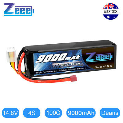 AU118.99 • Buy Zeee 9000mAh 4S 14.8V 100C LiPo Battery Deans For RC Car Truck Boat Helicopter