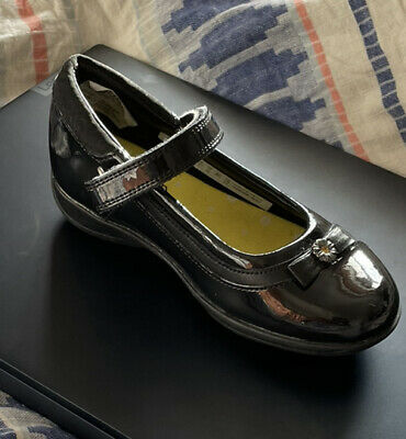 Clarks Girls Black Patent Leather School Shoes DAISY LOCKET UK 10.5E EU 28.5 Inf • 23.99£
