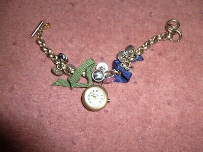 £8.50 • Buy Accessorize Ladies Charm Bracelet Watch With Buttons And Bows