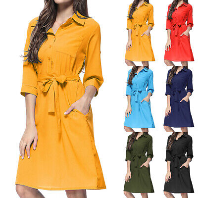 AU18.39 • Buy Women Button V Neck Midi Dress Ladies Party Casual Belted Shirt Dresses Tops AU