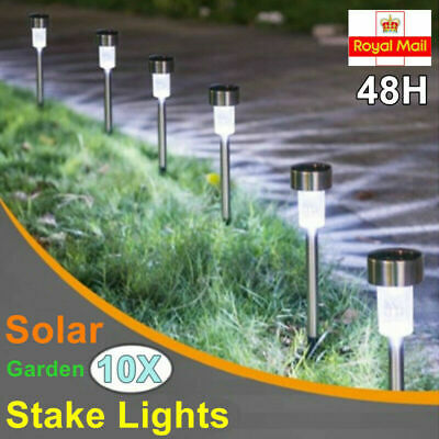 10X Solar Powered Stainless Steel Led Post Stake Light Garden Patio Outdoor Lawn • 9.78£