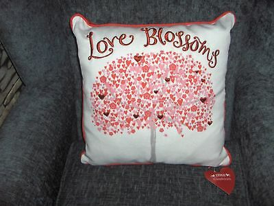 Cushion Love Blossom With Love Heart Tree Red/cream Pink Bnwt • 4.99£