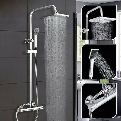 £59.99 • Buy Bathroom Thermostatic Mixer Shower Set Square Shower Bar Twin Head Exposed Valve