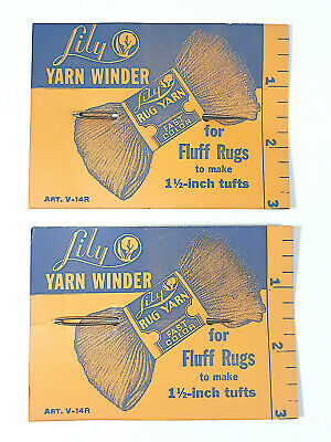 2 Vintage Large Thick Needles Lily Yarn Winder Fluff Rugs To Make 1 1/2 Tufts Ad • 14.12£