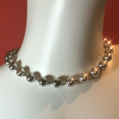 10mm Oversized Stainless Steel Ball Chain Necklace / Choker 10x400mm (16 Inches) • 8.49£