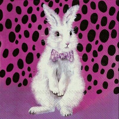 £1.35 • Buy 4 X Single Paper Table Napkin/33cm/3Ply/Decoupage/Spring/Easter/Bad Hair Bunny