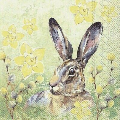 £1.35 • Buy 4 X Single Paper Table Napkin/33cm/3-Ply/Decoupage/Easter/Spring Hare In Flowers