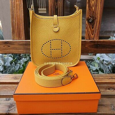 AU3695 • Buy 🍊💛 Hermes Mini Evelyne Tpm Jaune Ambre Clemence Leather With Ghw 💛🍊