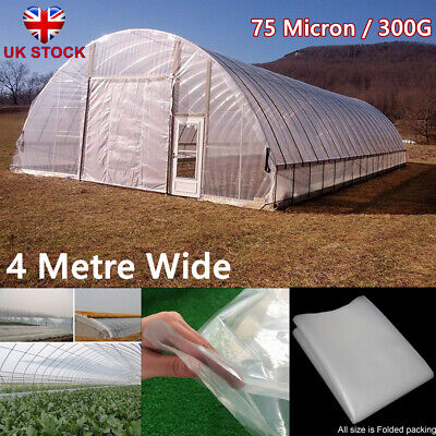 300G Greenhouse Pollytunnel Cover 4 Metre Clear Plastic Film Sheeting Heavy Duty • 11.32£