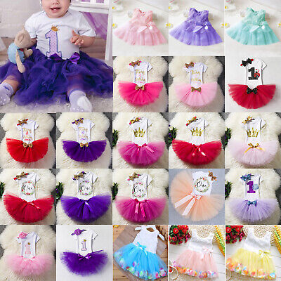 AU11.87 • Buy Baby Kids Girls First 1st Birthday Party Tulle Dress Princess Bridesmaid Outfits