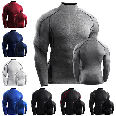 Mens Thermal Base Layer Compression Top Long Sleeve Body Armour Cold Wear Shirts • 10.99£