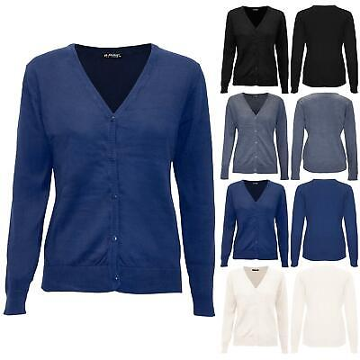 £7.99 • Buy Womens Ladies Long Sleeve V Neck Jumper Buttons Warm Knitted Sweater Cardigan