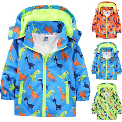 Kids Boy Girl Clothes Dinosaur Print Hoodies Hooded Coat Jacket Outerwear Outfit • 15.95£