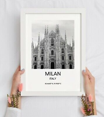 £4.95 • Buy Milan Italy Cathedral Print Black And White Landmark Wall Art Décor Poster Gift