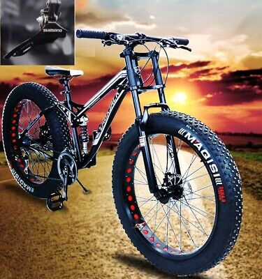 AU699 • Buy 26  Large Fat Tire Heavy Duty Beach Mountain Bike High Carbon Frame 7/21 Speed