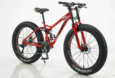 AU699 • Buy 26  Large Fat Tyre Bicycle Beach Mountain Bike Full Suspension 21 Speed