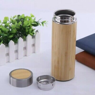 AU20 • Buy BPA FREE STAINLESS STEEL TEA DRINKING TUMBLER THERMOS BAMBOO  FLASK WITH INFUSER