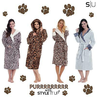 £21.99 • Buy Womens Ladies Animal Leopard Print Robe Dressing Gown Hooded Fluffy Snuggle Soft