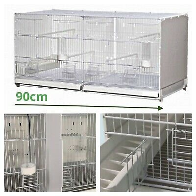 £99 • Buy 90cm 35  Plastic Double Breeding Cage With Divider For Budgie, Canary, Finch