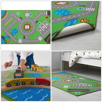 IKEA STORABO Childrens Play Rug Low Pile Kids Mat Cars Road Toys Map 133 X 75 Cm • 15.99£