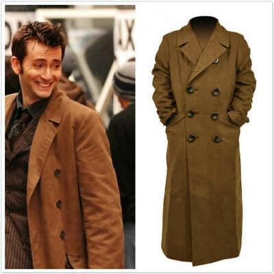 10th Doctor Who Th Dr. Ten Brown Long Coat Trench Jacket Cosplay Costume • 28£